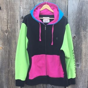 Burton Snowboards 80s-90s Style Color Block Hoodie